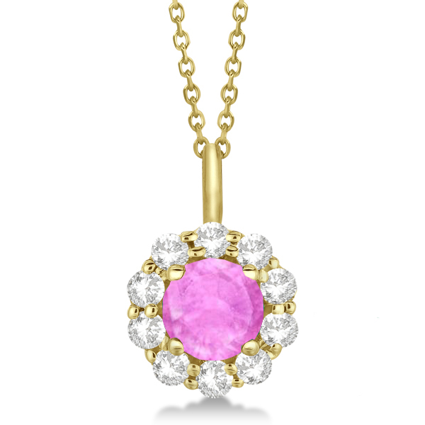 Halo Diamond and Pink Sapphire Lady Di Pendant Necklace 18k Yellow Gold (1.69ct)