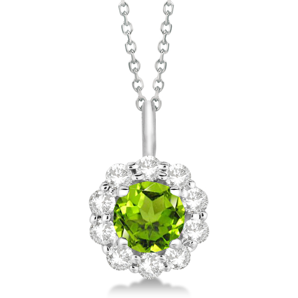 Halo Diamond and Peridot Lady Di Pendant Necklace 14K White Gold (1.69ct)