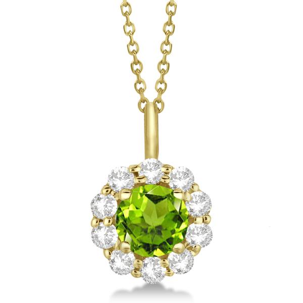 Halo Diamond and Peridot Lady Di Pendant Necklace 14K Yellow Gold (1.69ct)