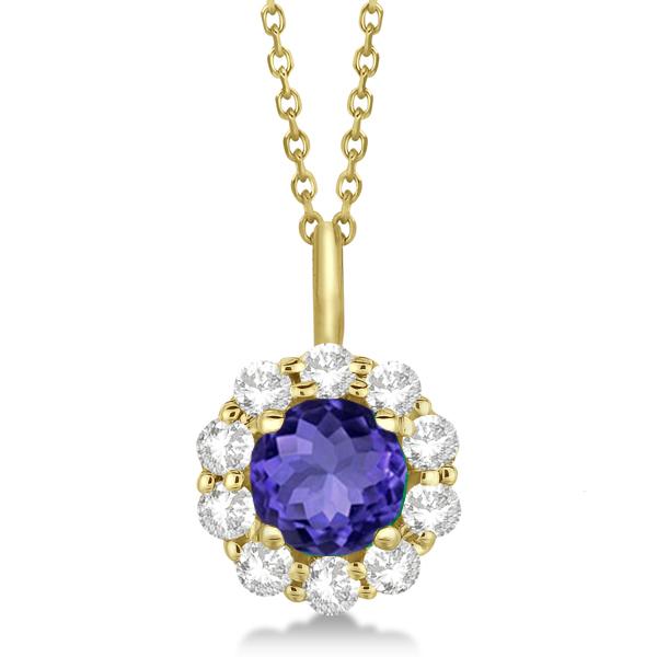 Halo Diamond and Tanzanite Lady Di Pendant Necklace 14K Yellow Gold (1.69ct)