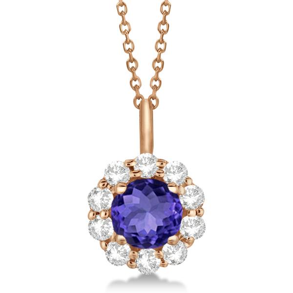 Halo Diamond and Tanzanite Lady Di Pendant Necklace 18k Rose Gold (1.69ct)