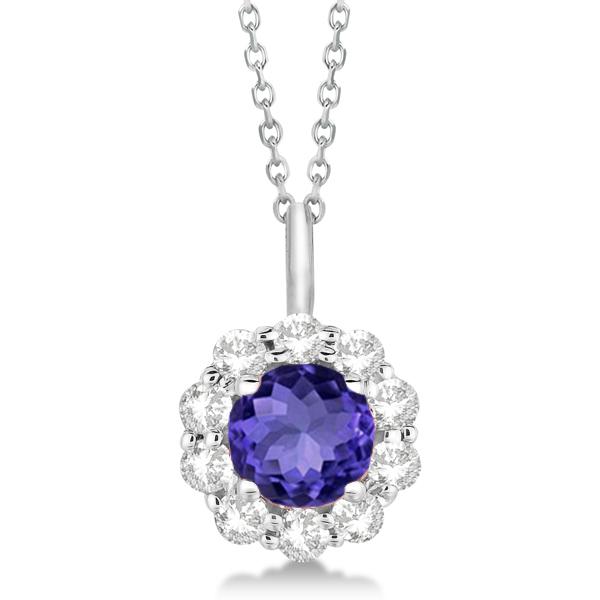Halo Diamond and Tanzanite Lady Di Pendant Necklace 18k White Gold (1.69ct)