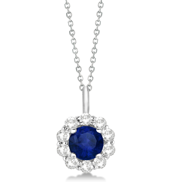 Halo Diamond and Sapphire Pendant Necklace 14K White Gold (1.69ct)