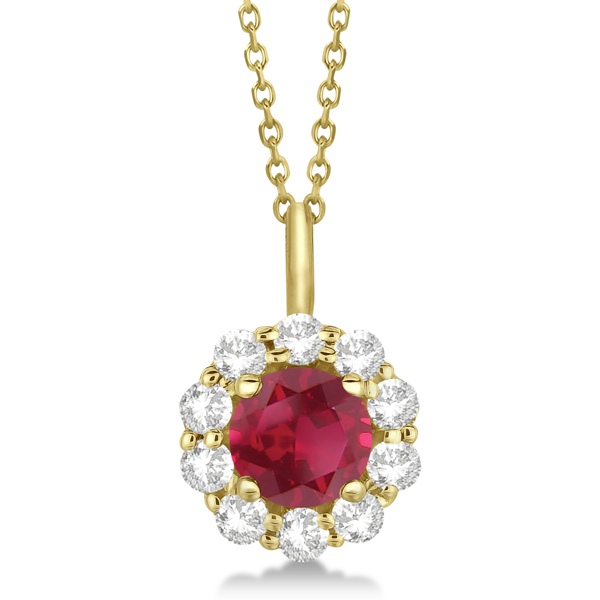 Halo Diamond and Ruby Pendant Necklace 14K Yellow Gold (1.69ct)