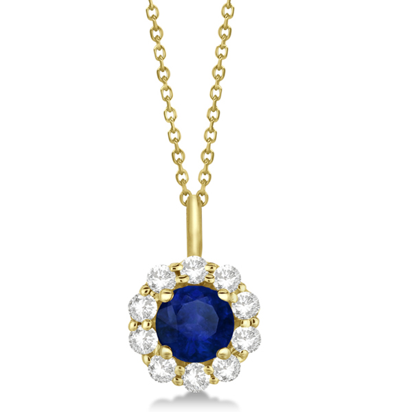 Halo Diamond and Sapphire Pendant Necklace 14K Yellow Gold (1.69ct)
