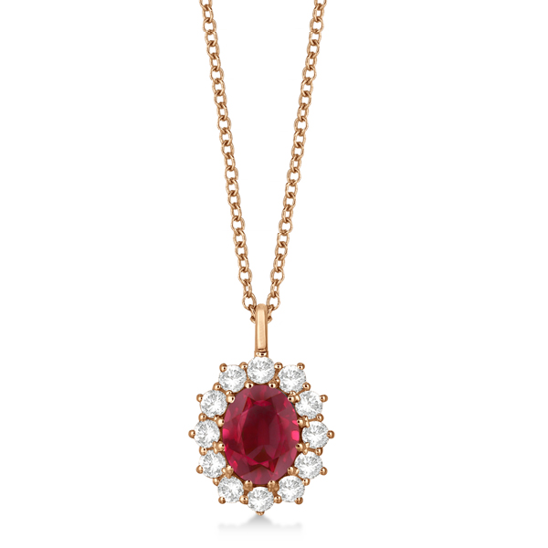 Oval Ruby and Diamond Pendant Necklace 14k Rose Gold (3.60ctw)