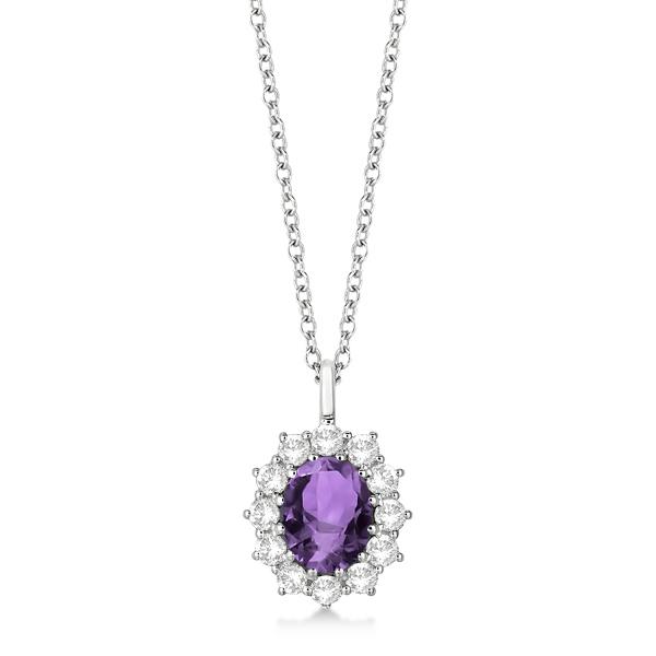 Oval Amethyst & Diamond Pendant Necklace 14k White Gold (3.60ctw)