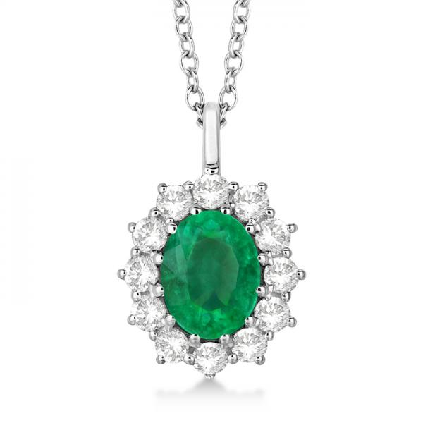 Oval emerald diamond pendant necklace 18k white gold for Z s fine jewelry