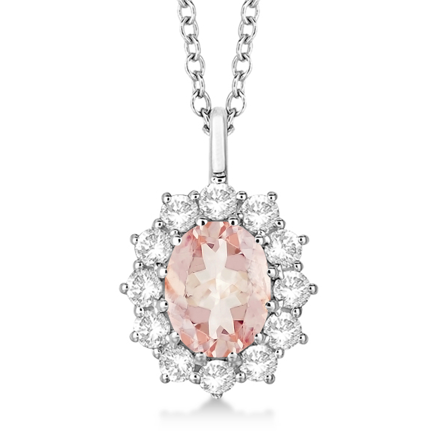 Oval Morganite and Diamond Pendant Necklace 14k White Gold (3.60ctw)