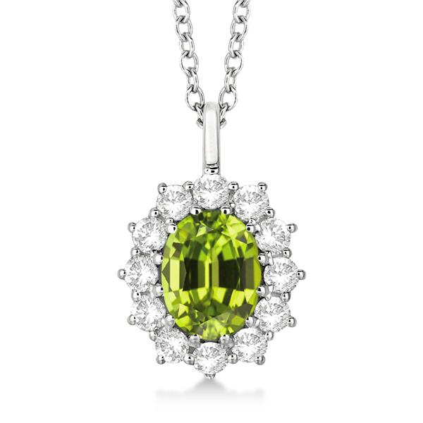Oval Peridot & Diamond Pendant Necklace 14k white Gold (3.60ctw)