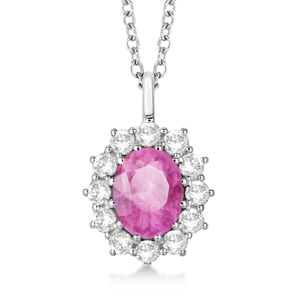 Oval Pink Sapphire & Diamond Pendant Necklace 14k white Gold (3.60ctw)