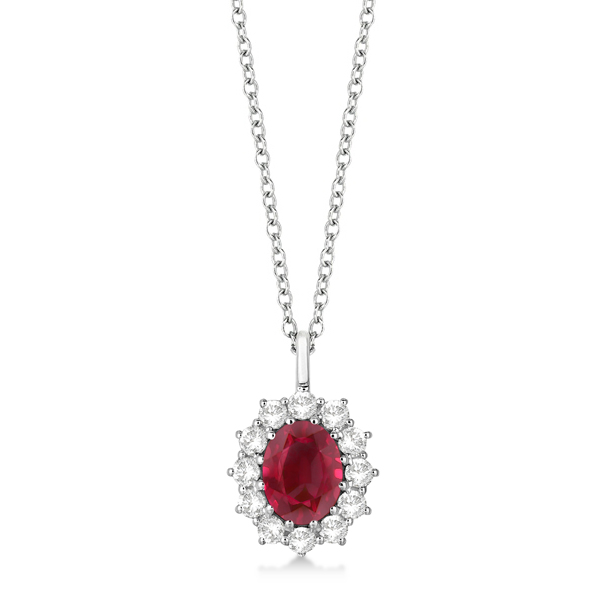 Oval Ruby and Diamond Pendant Necklace 14k White Gold (3.60ctw)