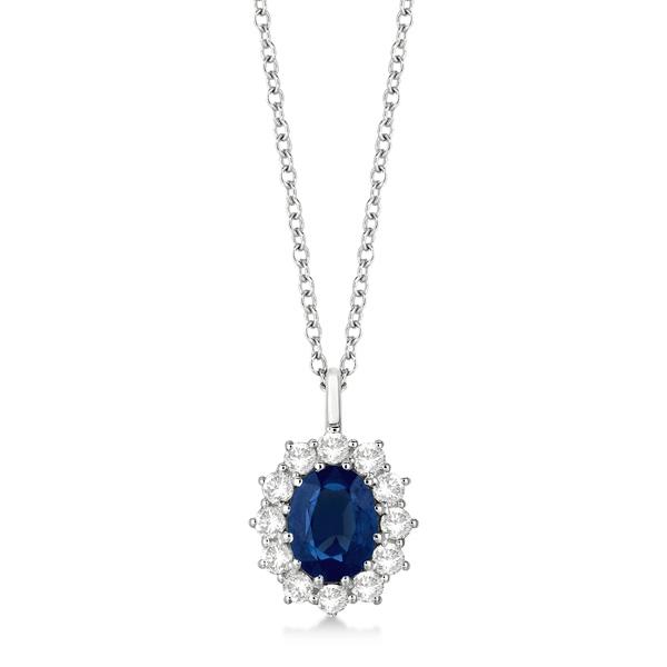 Oval Blue Sapphire & Diamond Pendant Necklace 14k White Gold (3.60ctw)
