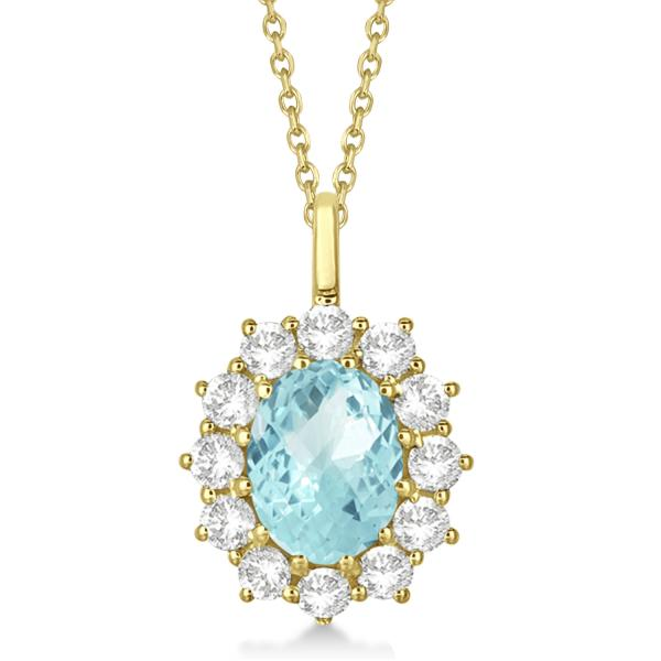 Oval Aquamarine and Diamond Pendant Necklace 14k Yellow Gold (3.60ctw)