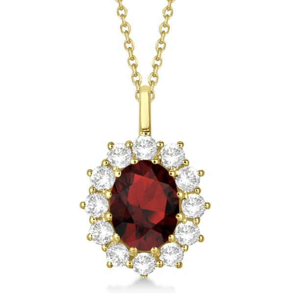 Oval Garnet and Diamond Pendant Necklace 14k Yellow Gold (3.60ctw)