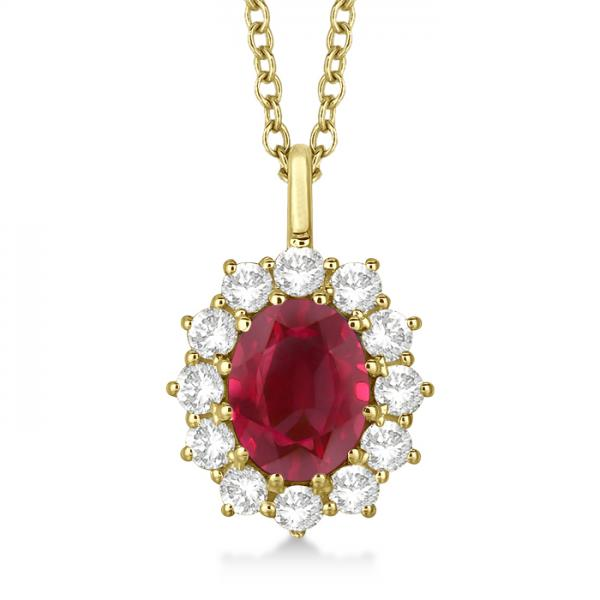 Oval Ruby and Diamond Pendant Necklace 14k Yellow Gold (3.60ctw)