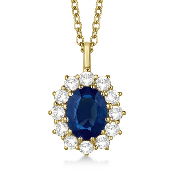Oval Blue Sapphire & Diamond Pendant Necklace 14k Yellow Gold (3.60ctw)