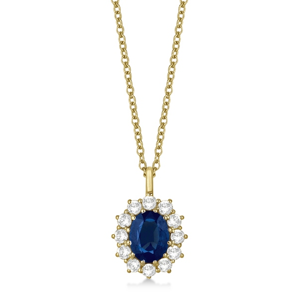 Oval blue sapphire diamond pendant necklace 14k yellow gold 360ct oval blue sapphire diamond pendant necklace 14k yellow gold aloadofball Image collections