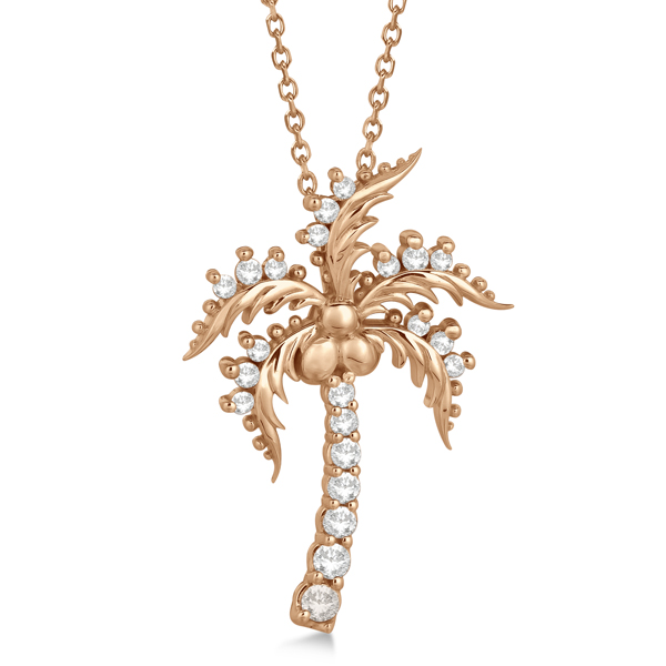 Diamond Palm Tree Pendant Necklace 14K Rose Gold (0.37ct)