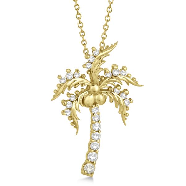 Diamond Palm Tree Pendant Necklace 14K Yellow Gold (0.37ct)