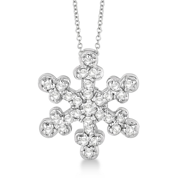 Snowflake Shaped Diamond Pendant Necklace 14k White Gold (0.25ct)