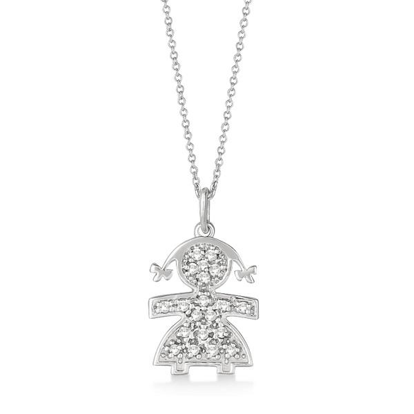 Pave-Set Diamond Girl Shape Pendant Necklace 14K White Gold (0.15ct)
