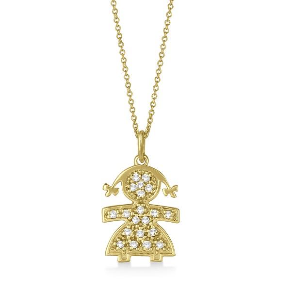 Pave-Set Diamond Girl Shape Pendant Necklace 14K Yellow Gold (0.15ct)