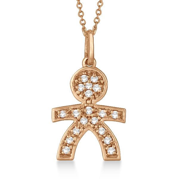 Pave-Set Diamond Boy Shape Pendant Necklace 14K Rose Gold (0.15ct)