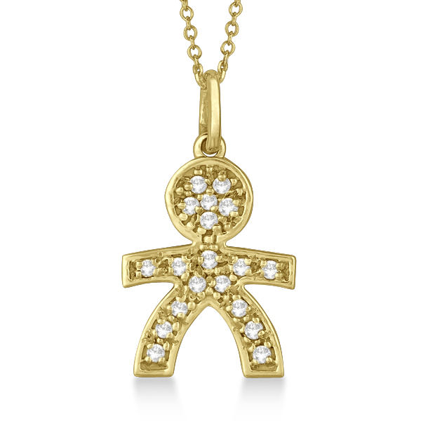 Pave-Set Diamond Boy Shape Pendant Necklace 14K Yellow Gold (0.15ct)