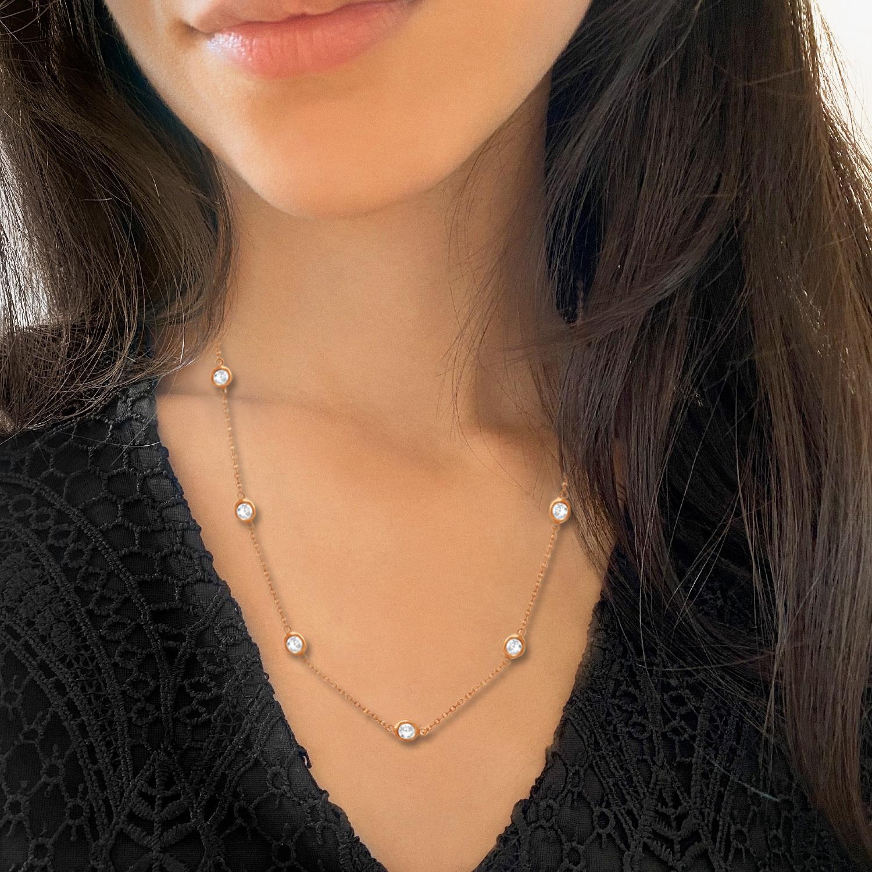 Diamond Station Necklace Bezel-Set 14K Rose Gold (0.15ct)