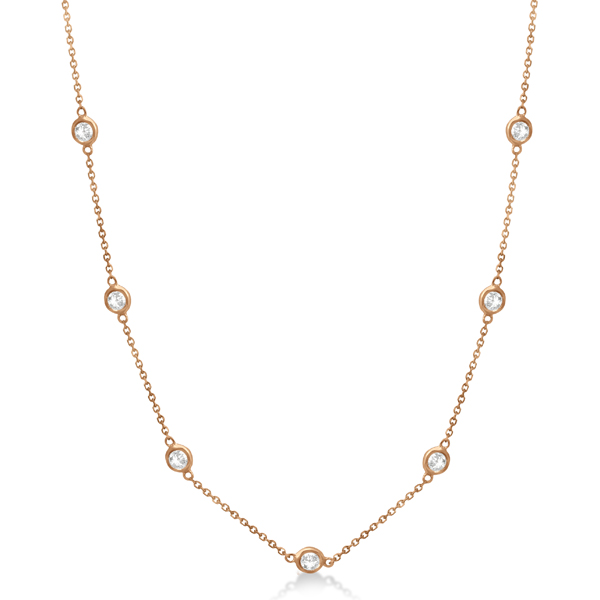 Diamond Station Necklace Bezel-Set 14K Rose Gold (0.25ct)