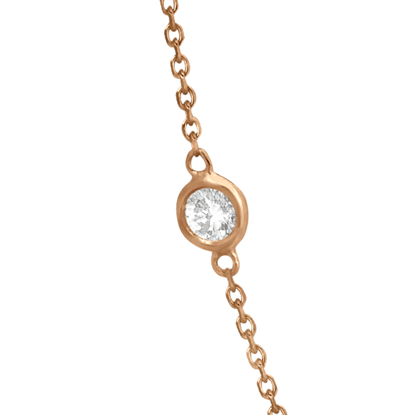 Diamond Station Necklace Bezel-Set 14K Rose Gold (0.38ct)
