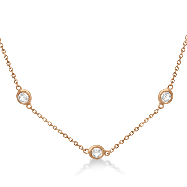 Diamond Station Necklace Bezel-Set 14K Rose Gold (0.76ct)