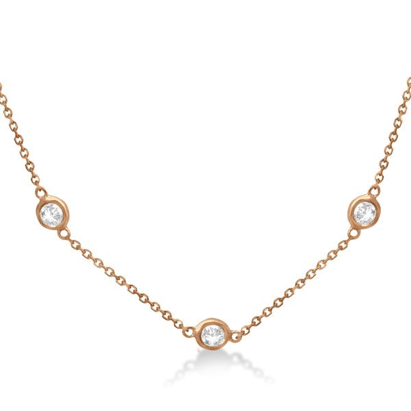 Diamond Station Necklace Bezel-Set 14K Rose Gold (0.76ct)