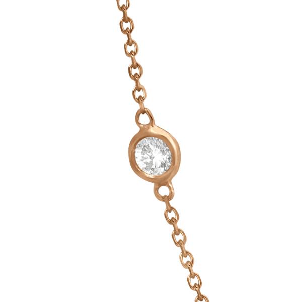 Diamond Station Necklace Bezel-Set 14K Rose Gold (1.50ct)