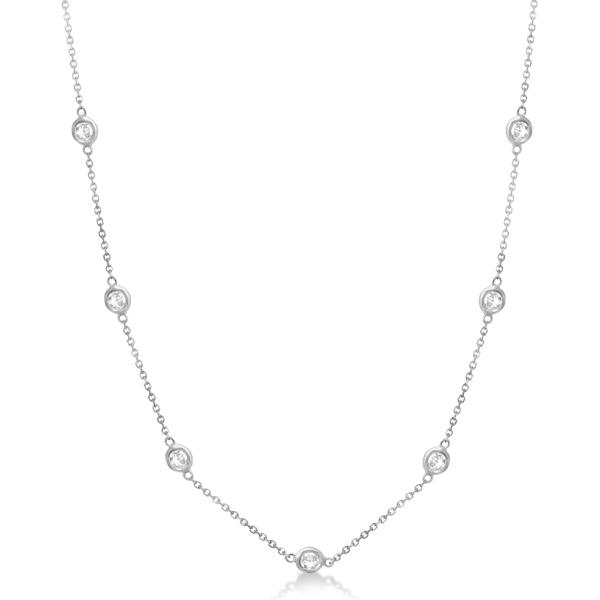 Diamond Station Necklace Bezel-Set 14K White Gold (0.38ct)