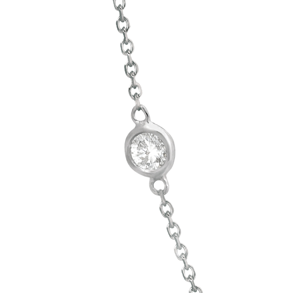 Diamond Station Necklace Bezel-Set 14K White Gold (0.38ct)
