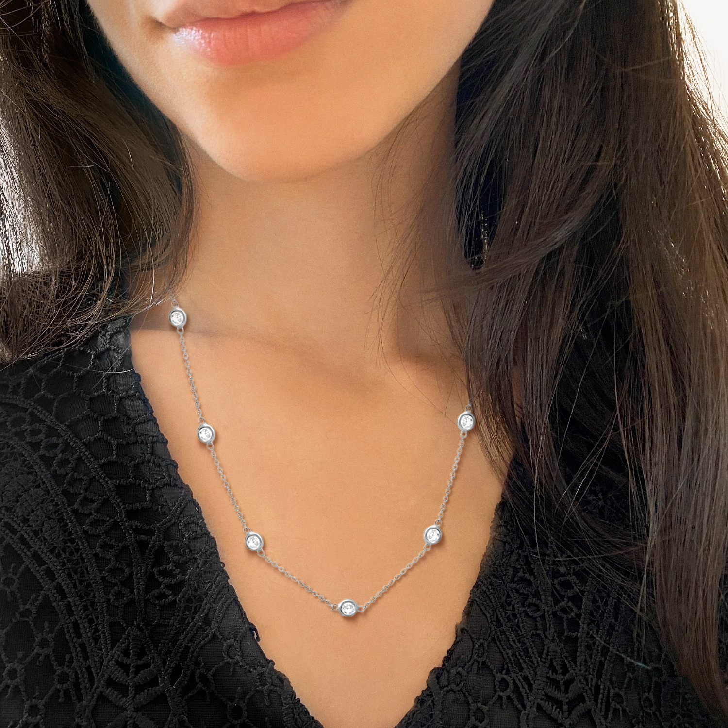 Diamond Station Necklace Bezel-Set 14K White Gold (0.76ct)