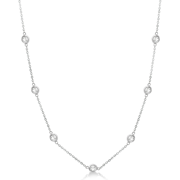 Diamond Station Necklace Bezel-Set 14K White Gold (1.00ct)