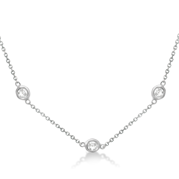 Diamond Station Necklace Bezel-Set 14K White Gold (1.50ct)