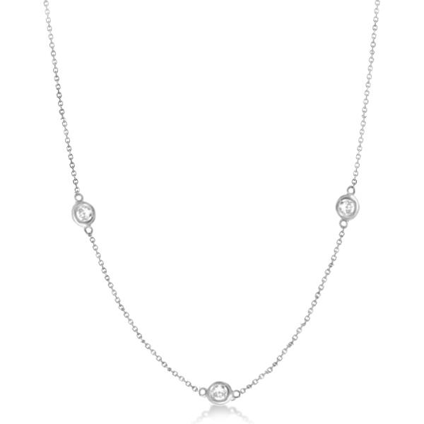 Diamond Station Three Stone Bezel-Set Necklace 14k White Gold (1.00ct)