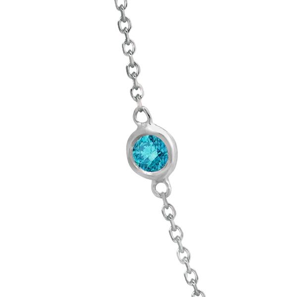 Fancy Blue Diamond Station Necklace 14K White Gold (0.76ct)