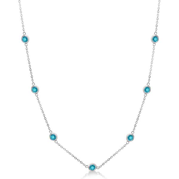 Fancy Blue Diamond Station Necklace 14K White Gold (1.50ct)