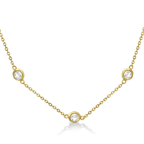 Diamond Station Necklace Bezel-Set 14K Yellow Gold (0.15ct)