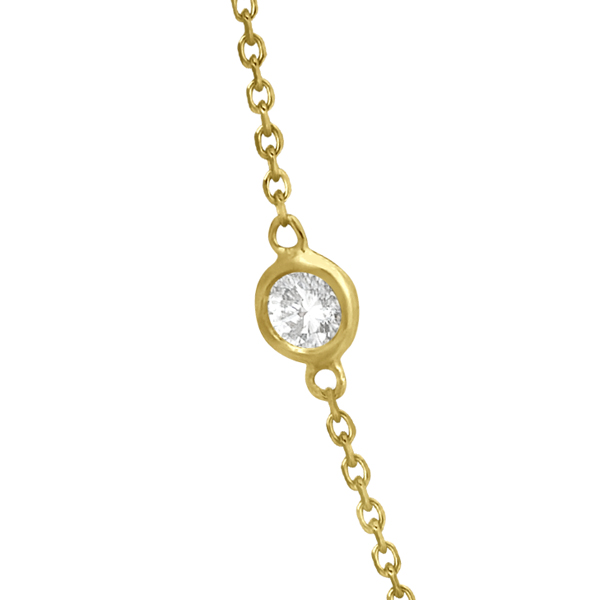 Diamond Station Necklace Bezel-Set 14K Yellow Gold (0.38ct)