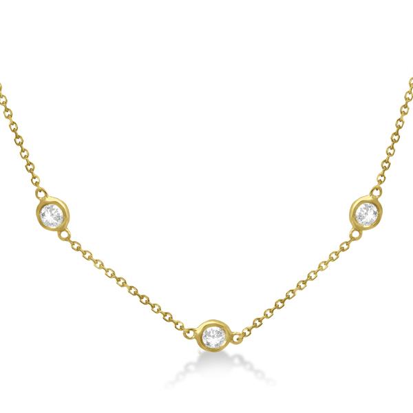 Diamond Station Necklace Bezel-Set 14K Yellow Gold (0.76ct)