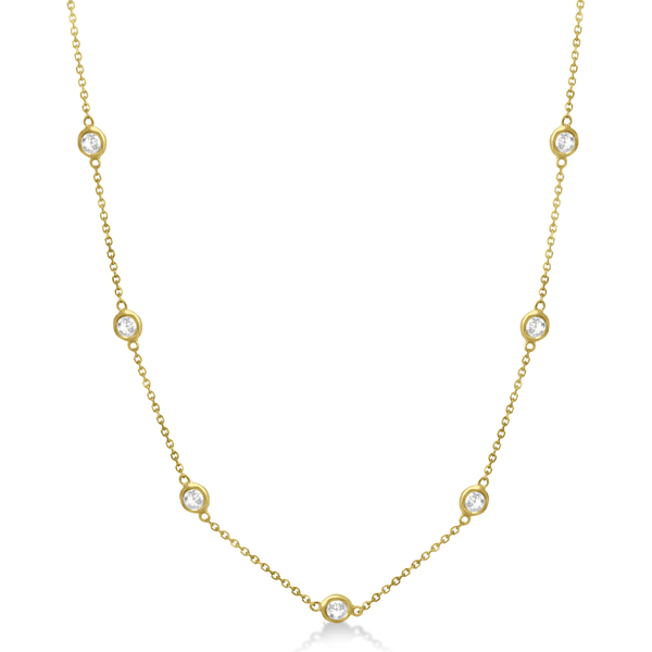 Diamond Station Necklace Bezel-Set 14K Yellow Gold (1.00ct)