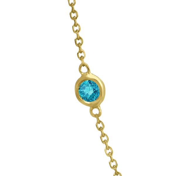 Fancy Blue Diamond Station Necklace 14K Yellow Gold (1.50ct)