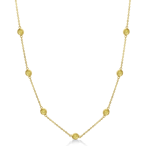 Fancy Yellow Diamond Station Necklace 14K Yellow Gold (0.15ct)
