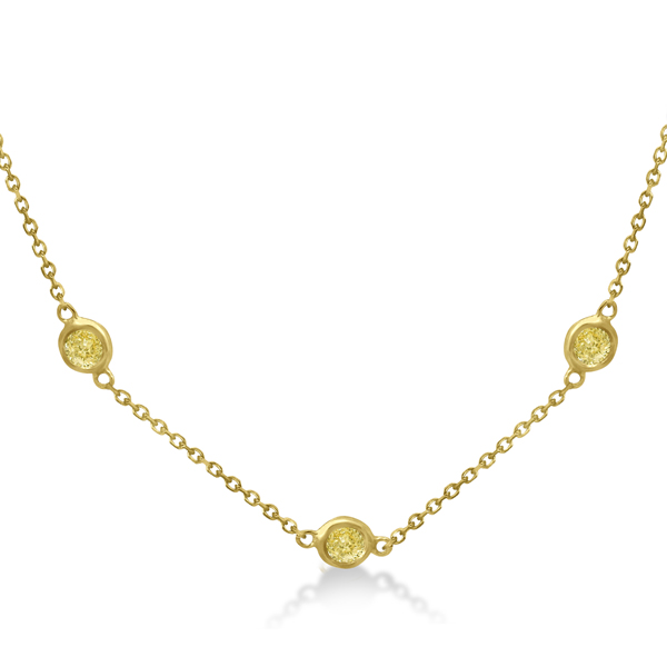 Fancy Yellow Diamond Station Necklace 14K Yellow Gold (0.76ct)